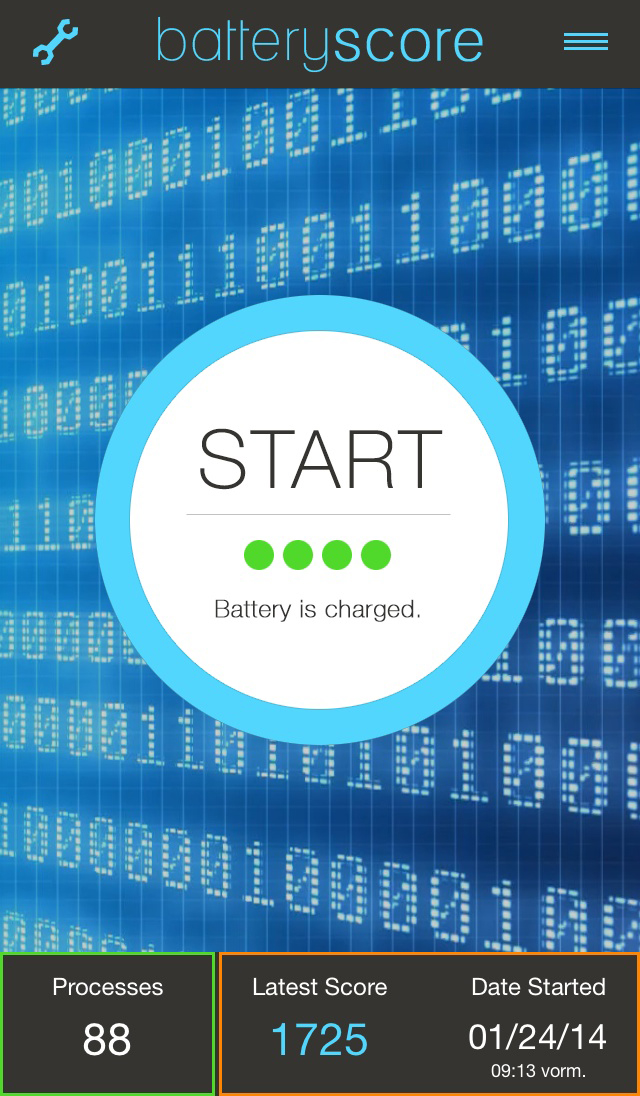 batteryscore - start screen